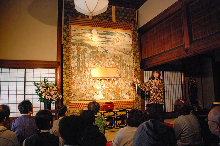 岡澤恭子さんによる釈迦涅槃図の絵解き
