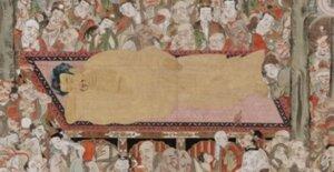 お釈迦さまの入滅の場面を描くねはん図には、沙羅双樹の間に身を横たえた80歳のお釈迦さまと、別れを悲しむ多くの弟子たち、菩薩衆、神々、またはお別れに駆けつけた多くの動物や昆虫たちが描かれています。空からはお釈迦さまを生んで七日で亡くなったお母さまも。仏教の数ある絵画の主題の中で、もっとも繰り返し描かれ、宗派を超えて、多くのお寺に伝えられている大切なものです。